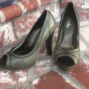 Charles Davis thick heel peek a boo shoe